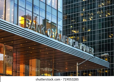 New York, USA - 28 September, 2016: The Bank of America Tower at One Bryant Park is a 1,200 ft skyscraper in the Midtown area of Manhattan.