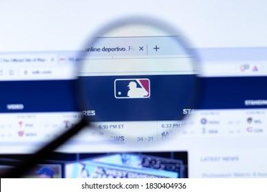 New York, USA - 29 September 2020: MLB mlb.com company website with logo close up, Illustrative Editorial.