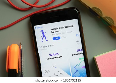 New York, USA - 29 September 2020: Weight Loss Walking by Verv mobile app logo on phone screen close up, Illustrative Editorial.