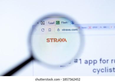 New York, USA - 29 September 2020: Strava strava.com company website with logo close up, Illustrative Editorial.
