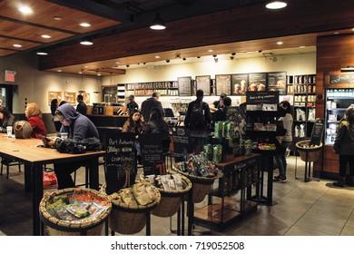 New York, USA -  29 September, 2016: Starbucks Coffee shop inside the Port Authority Bus Terminal in Manhattan.