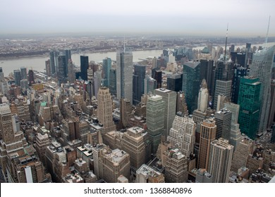 New York USA, 8th April 2019: Aerial view of Manhattan in New York City showing the classic high rise buildings and city scape in the USA
