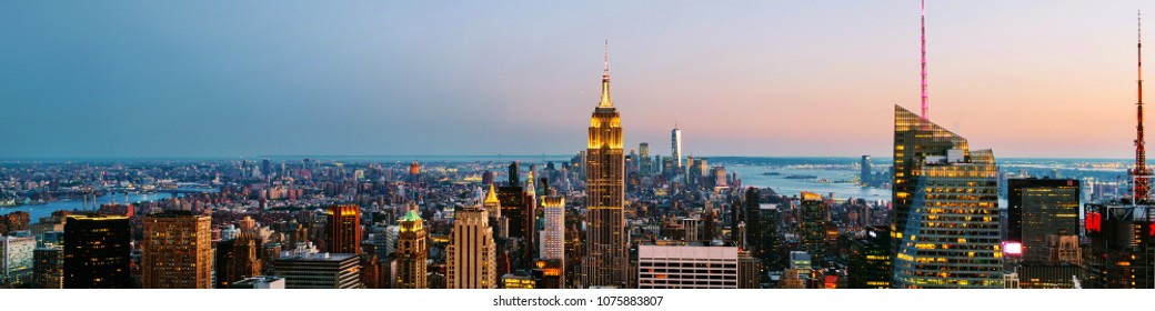 New York, USA. Aerial view on the city skyline in New York City, USA, on a warm sunny summer evenking with clear sky