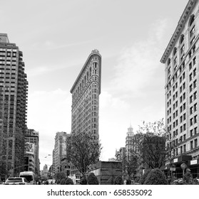 NEW YORK, USA - Apr 27, 2016: Black and white image of Flatiron Building at NYC. Originally the Fuller Building located at  175 Fifth Avenue in the borough of Manhattan