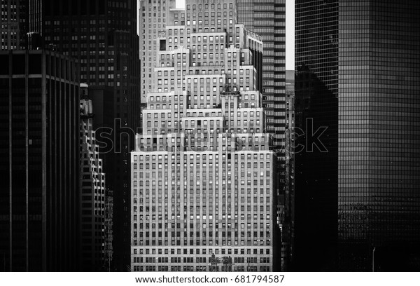 NEW YORK, USA - Apr 27, 2016: Streets of Manhattan black and white image, NYC. Manhattan is the most densely populated of the five boroughs of New York City