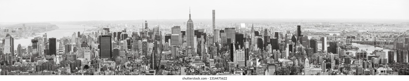 NEW YORK, USA - Apr 28, 2016:  Black and white New York City Manhattan midtown panorama view from the World Trade Center