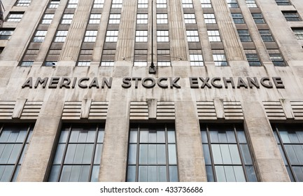 NEW YORK, USA - Apr 28, 2016: American stock exchange AMEX in Lower Manhattan, NYC. Third-largest stock exchange by trading volume in the United States
