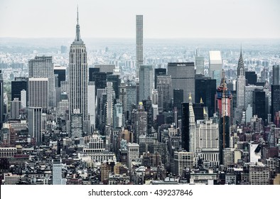 NEW YORK, USA - Apr 28, 2016:  New York City Manhattan midtown view with the Empire State Building. It is a 102-story skyscraper located in Midtown Manhattan. View from the World Trade Center