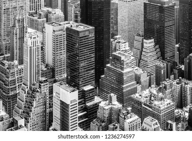 NEW YORK, USA - Apr 30, 2016: Black and white image of New York City skyscrapers viewed from top of Empire State Building. Birds eye view.