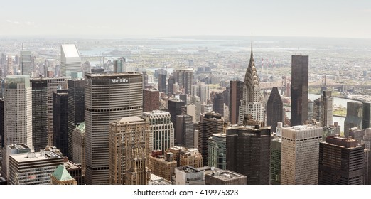 NEW YORK, USA - Apr 30, 2016: New York City Manhattan view with Chrysler Building and MetLife Building