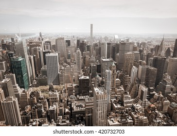 NEW YORK, USA - Apr 30, 2016: New York City Manhattan midtown aerial panorama view with skyscrapers