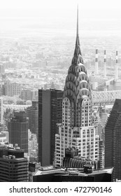 NEW YORK, USA - Apr 30, 2016: Black and white image of Manhattan streets and roofs with Chrysler building. New York City Manhattan midtown birds eye view