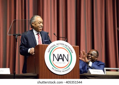 NEW YORK, USA - APRIL 13, 2016: The Reverend Al Sharpton shares a jovial moment with Dr. Franklyn Richardson. Sharpton speaks at the annual National Action Network convention. NAN is in its 25th year.