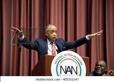 NEW YORK, USA - APRIL 13, 2016: The Reverend Al Sharpton gestures as he speaks to a packed crowd at the Sheraton Hotel during the National Action Network convention.