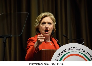 NEW YORK, USA - APRIL 13, 2016: Hillary Clinton gives a speech at NAN. She makes an impactful gesture at the National Action Network 25th year convention. One stop during the US Presidential campaign.