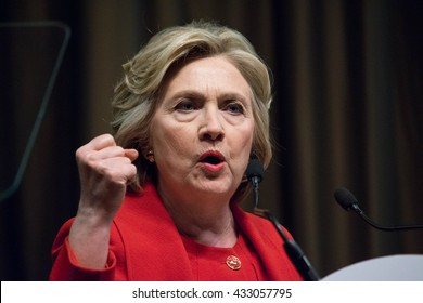 NEW YORK, USA - APRIL 13, 2016: Hillary Clinton makes an impactful gesture during a speech to the National Action Network 25th annual convention.