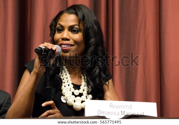 NEW YORK, USA - APRIL 13, 2016: Omarosa Manigault speaks at the National Action Network 25th Annual Convention. A former apprentice that has now joined the Administration of President Donald Trump