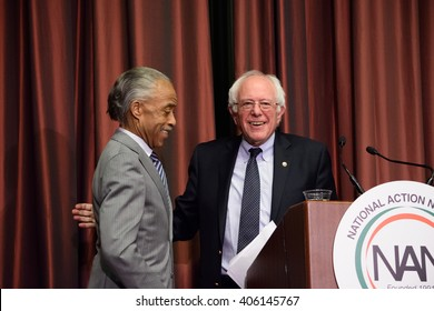 NEW YORK, USA - APRIL 14, 2016: Presidential candidate Bernie Sanders concludes a speech with an embrace of Reverend Al Sharpton at the National Action Network convention.
