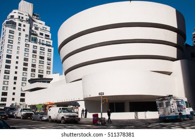 NEW YORK, USA - APRIL 14 2015: The Solomon R. Guggenheim Museum is one of the most important museums in the world in the field of modern and contemporary art