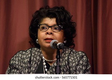 NEW YORK, USA - APRIL 14, 2016: April Ryan speaks at the NAN 25th Annual Convention. Mrs. Ryan is the White House correspondent and Washington bureau chief for American Urban Radio Networks.