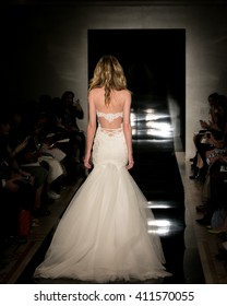 New York, USA - April 15, 2016: Reem Acra's Runway at Reem Acra Showroom for New York Bridal Fashion week Showing her Spring Bridal Collection for 2017