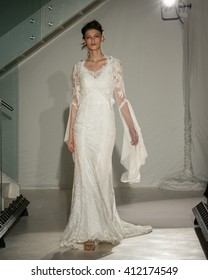 New York, USA - April 15, 2016: JLM Couture Alvina Valenta Runway Show designed by Jessica Williams at 404 NYC for New York Bridal Fashion week Showing her Fall Bridal Collection for 2016