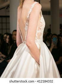 New York, USA - April 15, 2016: JLM Couture Lazaro Runway Show at 404 NYC for New York Bridal Fashion week Showing his Fall Bridal Collection for 2016