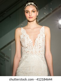 New York, USA - April 15, 2016: JLM Coutureâ??s Lazaro Runway Show at 404 NYC for New York Bridal Fashion week Showing his Fall Bridal Collection for 2016