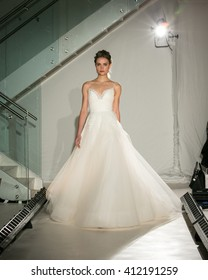 New York, USA - April 15, 2016: JLM Coutureâ??s Jim Hjelm Runway Show designed by Hayley Paige at 404 NYC for New York Bridal Fashion week Showing her Fall Bridal Collection for 2016
