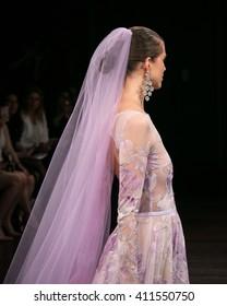 New York, USA - April 16, 2016: Naeem Kahn's Runway at Naeem Khan's Studio for New York Bridal Fashion week Showing his Spring Bridal Collection for 2017