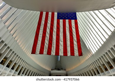 New York, USA - April 16, 2016: The Oculus in the World Trade Center Transportation Hub for the PATH in New York City. It is located between 2 World Trade Center and 3 World Trade Center in Manhattan.
