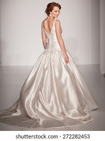 New York, USA - April 19, 2015: Maggie Sottero Runway at The Knot Couture Show for Bridal Fashion Week for Fall 2015