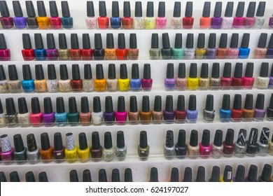 NEW YORK, USA - April 2017: A collection of OPI branded nail polish bottles