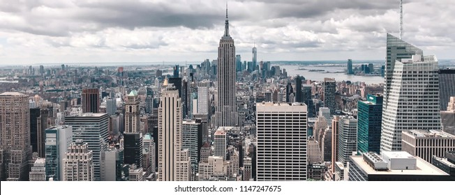 New York, USA - April 21, 2017: View of the buildings that are on The City of New York, often called New York City, is the most populous city in the United States