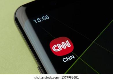 New york, USA - April 22, 2019: CNN news icon macro view on smartphone screen desktop