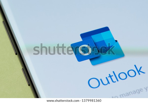 New york, USA - april 22, 2019: Outlook email app interface on smartphone screen