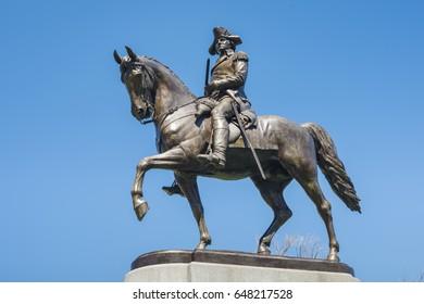 New York, USA - April 23, 2017: George Washington Statue, located in Boston Common, Boston Public Gardens, Boston, Massachusetts, USA.