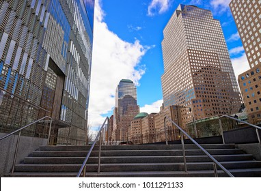New York, USA - April 24, 2015: Stairs at Three World Financial Center in Financial District. It is also known as American Express Tower, or 200 Vesey Street, USA.