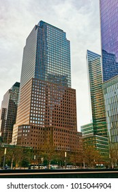 New York, USA - April 24, 2015: Three World Financial Center in Financial District. It is also known as American Express Tower, or 200 Vesey Street, USA. Toned