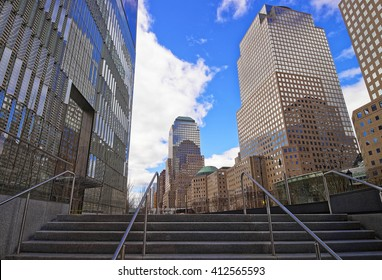 New York, USA - April 24, 2015: Two World Financial Center and Three World Financial Center in Financial District. They are known as 225 liberty Street and American Express Tower, or 200 Vesey Street