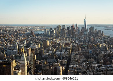New York, USA - April, 25, 2015: Aerial view from Observatory deck of the Empire State Building to Downtown Manhattan and Lower Manhattan New York, NYC, USA. Skyline with skyscrapers.