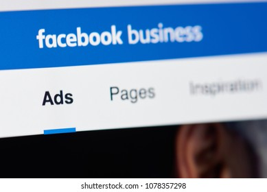 New york, USA - April 26, 2018: Facebook business page for advertising on laptop screen close-up