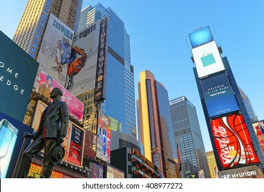 New York, USA - April 26, 2015: Statue of George M Cohan on Times Square at 7th Avenue and Broadway in Midtown Manhattan, New York, USA. It is a commercial intersection between Broadway and 7th Avenue