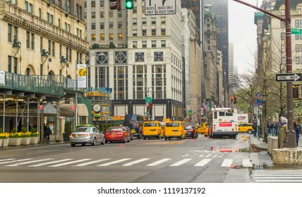 New York, USA - April 26,2018 : Road traffic on 5th Ave. near Central Park in New York,USA on April 26,2018.