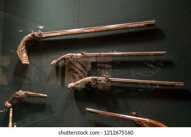 NEW YORK, USA - April 26,2018 : Antique Arabian Flintlock Rifle display at Metropolitan Museum of Art (the Met) in New York,USA on April 26,2018.