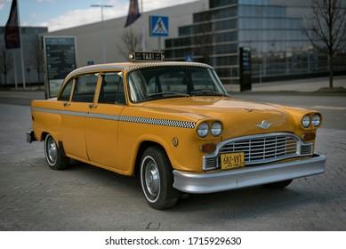 New York, U.S.A. April 26th, 2020. The New York taxicab - Checker.