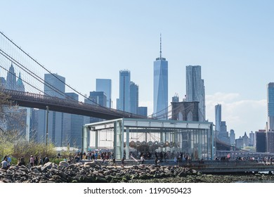 NEW YORK, USA - APRIL 28, 2018: Historic Jane. The Brooklyn Bridge, Lower Manhattan Skyline, New York City. The view is from Brooklyn Bridge Park on the East River. USA