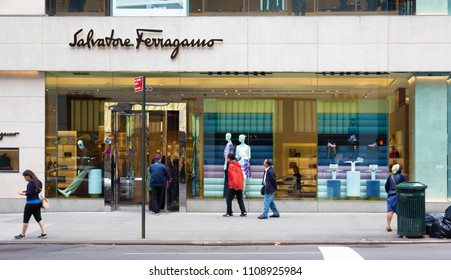 New York, USA - April 29, 2018: Salvatore Ferragamo store in central Manhattan