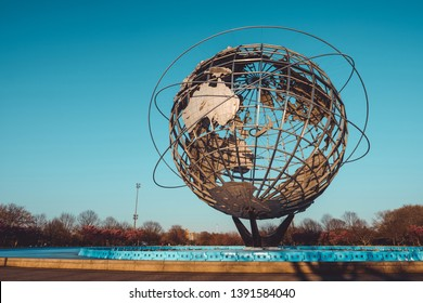 New York, USA - April 3, 2019 - Unisphere monument in Flushing Meadows–Corona Park, Queens, New York City with clear blue sky