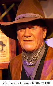 New York, USA - April 30, 2018: Portrait of John Wayne in Madame Tussauds of New York